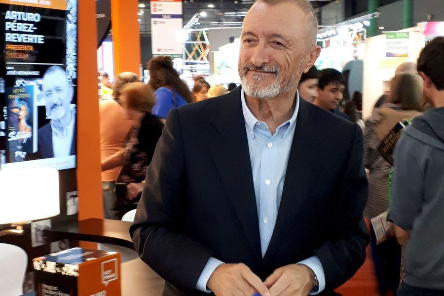 Spanish writer Arturo Perez-Reverte smiles during Argentina's 45th International Book Fair, in Buenos Aires