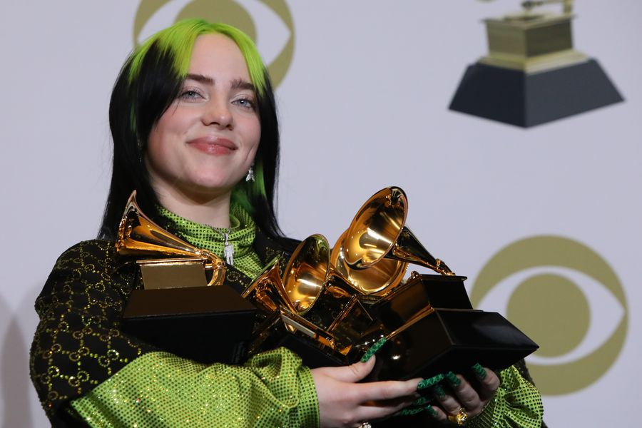 62nd Grammy Awards – Photo Room – Los Angeles, California, U.S., January 26, 2020 - Billie Eilish poses backstage with her awards