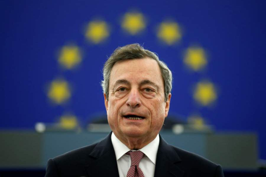 ECB President Draghi delivers a speech during a ceremony to mark the 20th anniversary of the launch of the Euro, at the European Parliament in Strasbourg