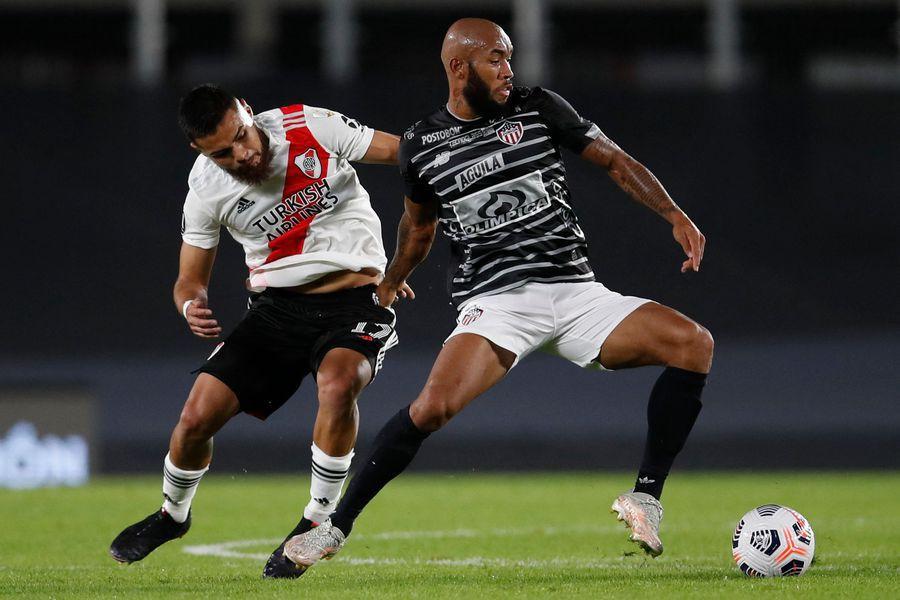 Paulo Díaz, durante el partido entre River Plate y Junior, por la Copa Libertadores.