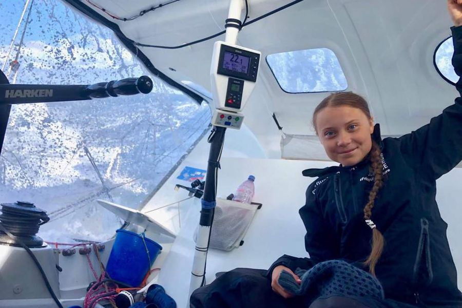 Climate activist Greta Thunberg sails to New York for UN climate summit