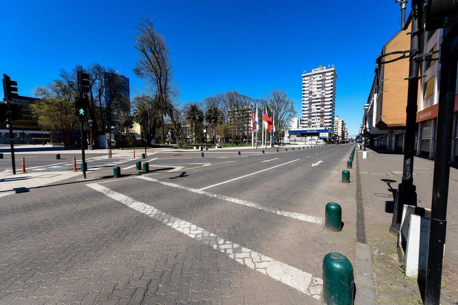 Calle del centro de Temuco, capital de la Región de La Araucanía.
