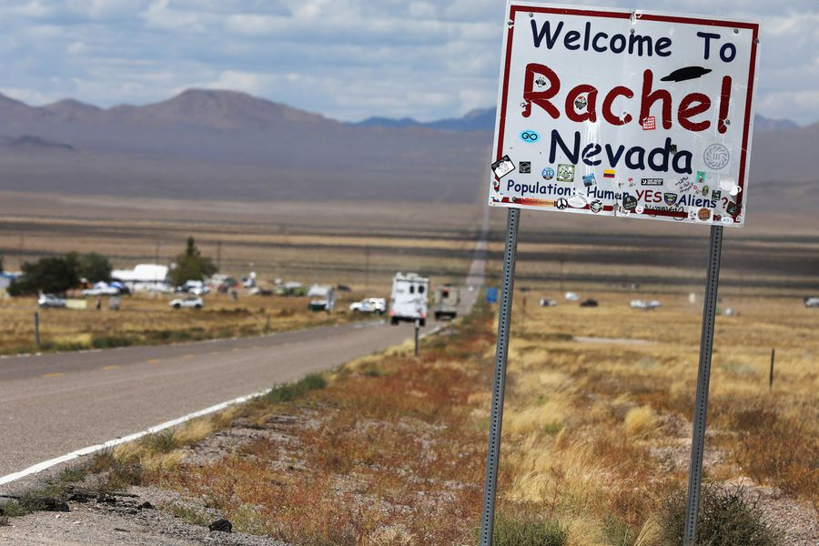 Traffic on Highway 375 as an influx of tourists responding to a call to 'storm' Area 51, a secretive U.S. military base believed by UFO enthusiasts to hold government secrets about extra-terrestrials, is expected in Rachel, Nevada