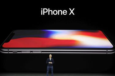 Apple CEO Tim Cook, announces the new iPhone X at the Steve Jobs Thea