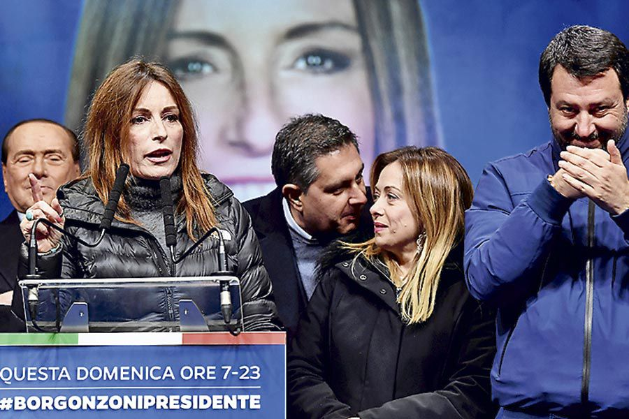 Lucia-Borgonzoni,-rightwing-coalition-candidate-for-President-of-Emilia--Romagna-,-addresses-a-rallyahead-of-a-regional-election-in-Emilia--Romagna-,-in-Ravenna-(47901909)