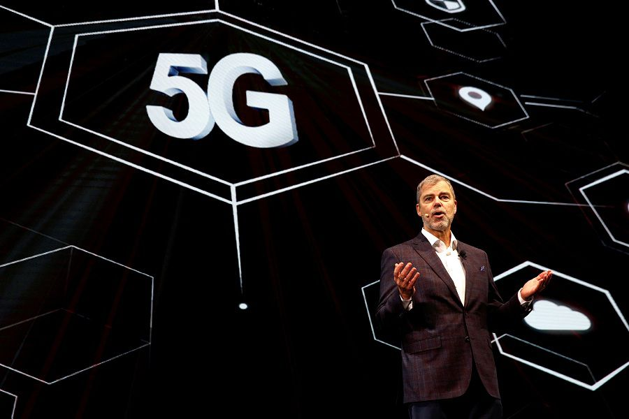 David Vanderwaal, senior vice president of marketing for LG Electronics USA, speaks on 5G wireless during an LG Electronics news conference at the 2019 CES in Las Vegas