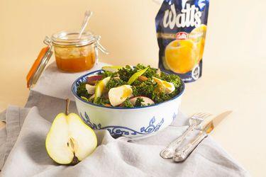 Recetas Amermeladas: ensalada invernal de kale con dressing dulce de damasco