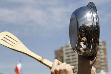 Manifestación pacifica en Manquehue