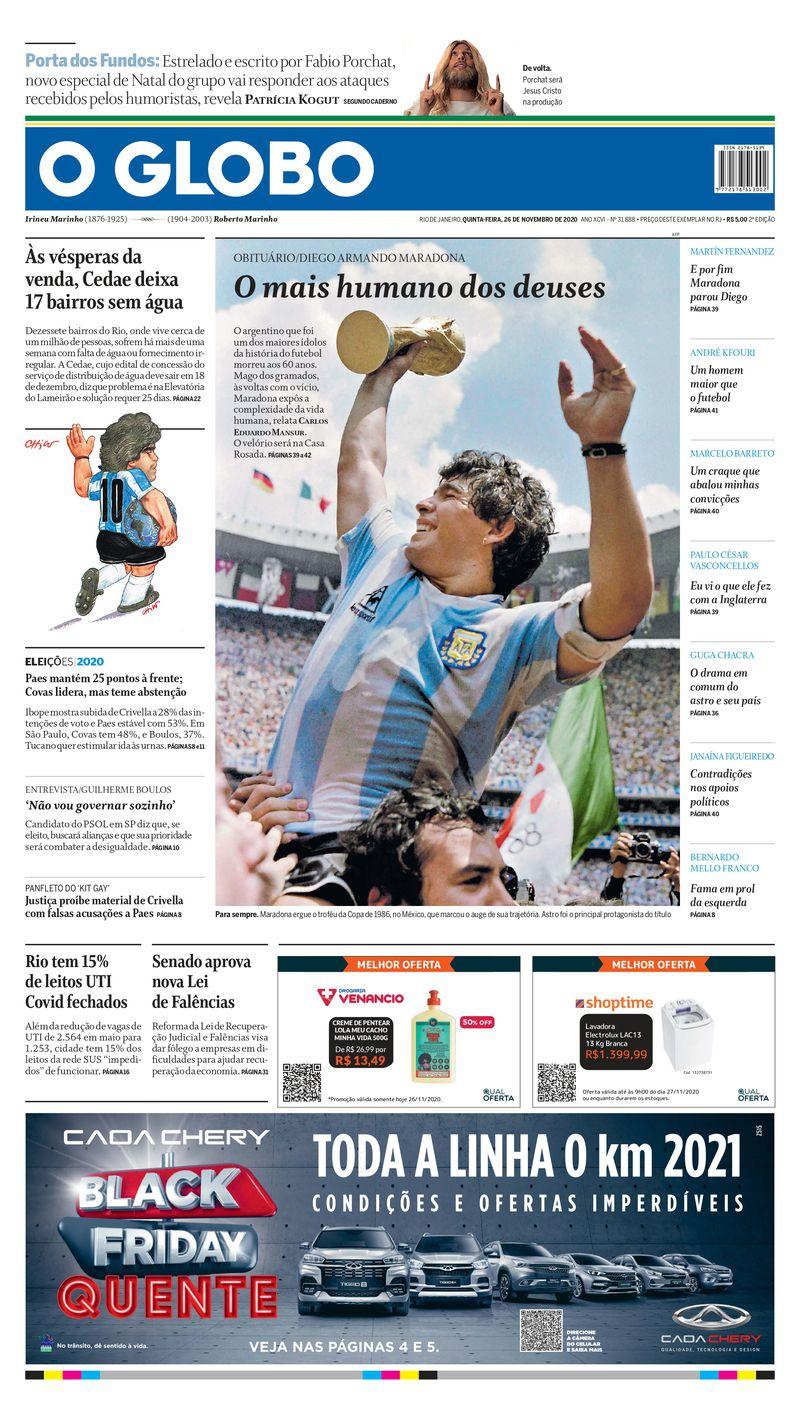 """En las manos de Dios"""": los medios del mundo le dedican sus portadas a Maradona - La Tercera"""