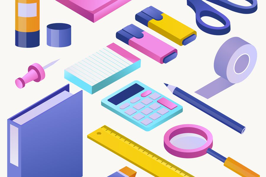 Office supply vector stationery school tools icons and accessori