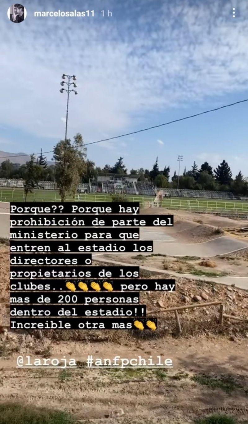 Marcelo Salas reclamó a través de su cuenta en Instagram por la imposibilidad de entrar al duelo entre Magallanes y Temuco.