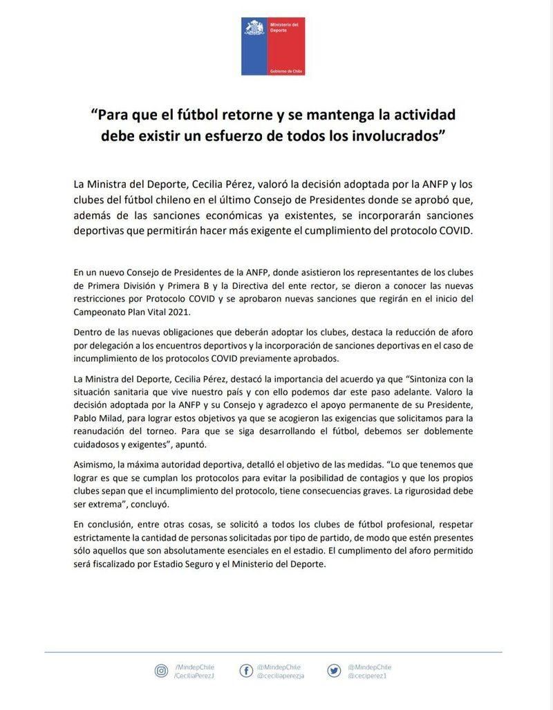 Comunicado del Ministerio del Deporte tras el Consejo de Presidentes de la ANFP, en el que se endurecieron los castigos para los clubes que incumplan los protocolos contra la Covid-19.