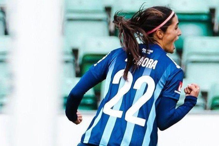 Daniela Zamora, en su primer gol en Suecia