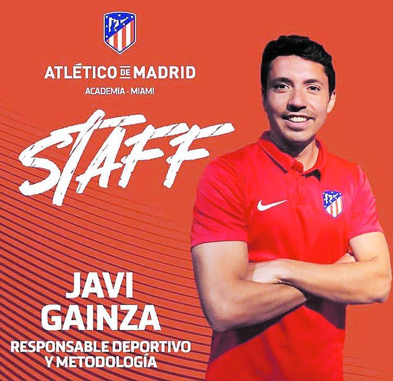 Javier Gainza, en un afiche institucional del Atlético de Madrid.