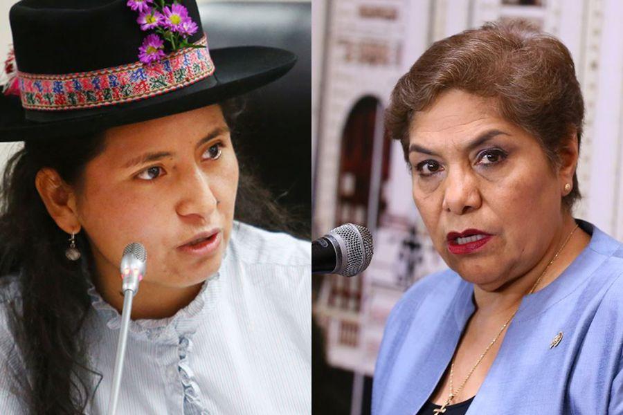 La congresista de Nuevo Perú, Tania Pariona y la congresista de Fuerza Popular, Luz Salgado.