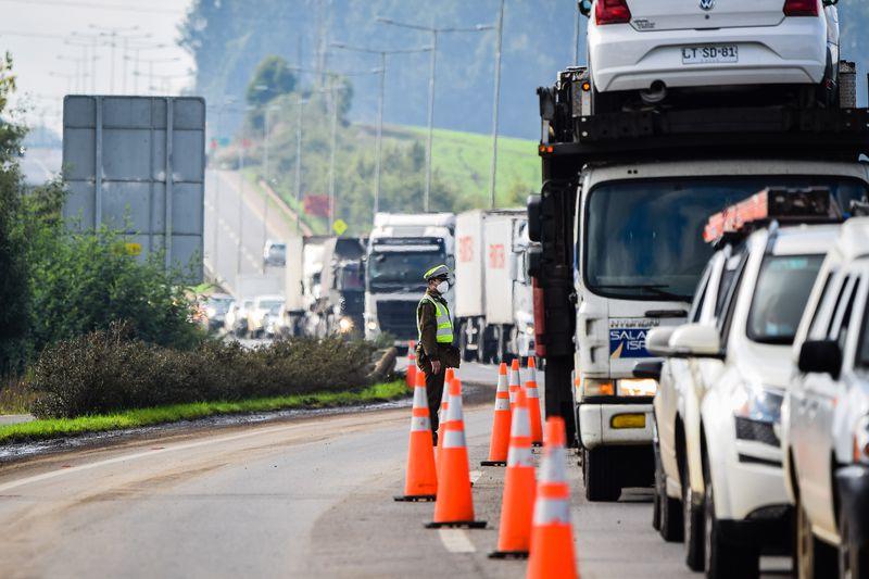 Control sanitario en el acceso a Temuco. Foto referencial.