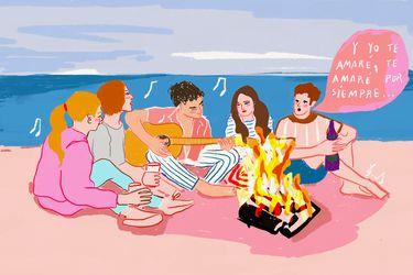 Veranos, fogatas en la playa y amigos