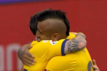 El gol de Vidal que abrió la cuenta del partido entre el Barcelona y Valladolid