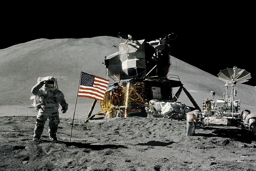 FILE PHOTO: Astronaut James Irwin gives a military salute while standing beside the U.S. flag during the Apollo 15 mission on the moon