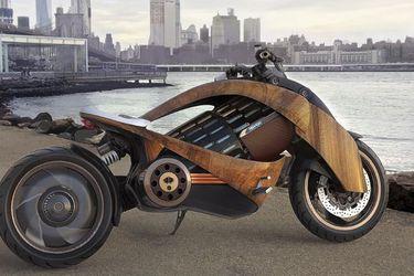 La futurista moto eléctrica con carenado de madera