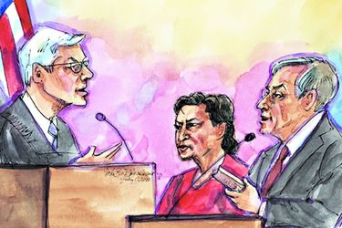 Courtroom sketch of former Peruvian president Toledo stands before U