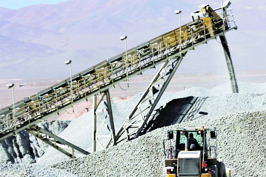 File photo of a bulldozer working in a stockpile of mineral at the Escondida copper mine near Antofagasta