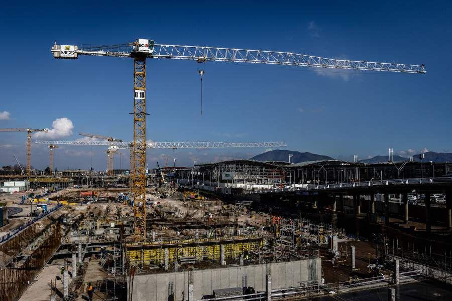 Trabajos de construcción del nuevo aeropuerto de Santiago