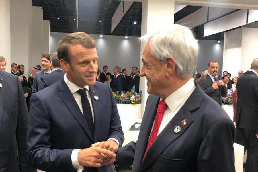 Sebastián Piñera y Emmanuel Macron.