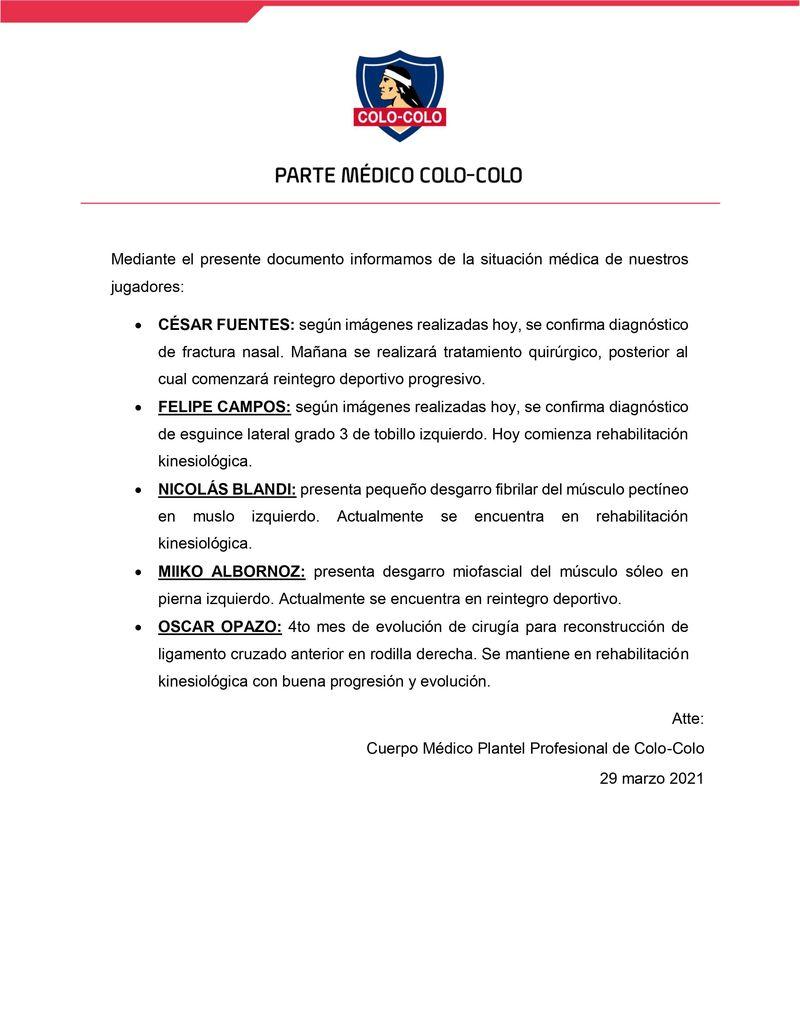 El parte médico de Colo Colo.