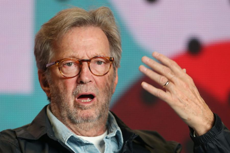 """Eric Clapton attends a press conference to promote the film """"Life in 12 Bars"""" at the Toronto International Film Festival"""