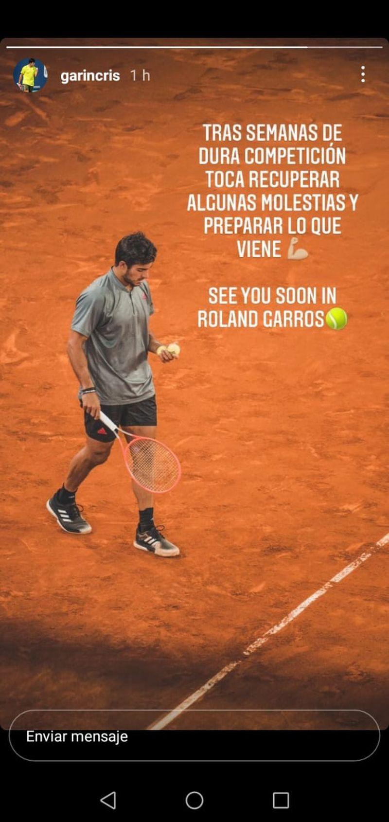 Christian Garin anunció que se bajaba del ATP de Ginebra para recuperar el físico pensando en Roland Garros.