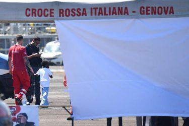 Cigala Fulgosi Italian Navy ship with migrants arrives in the port of Genoa