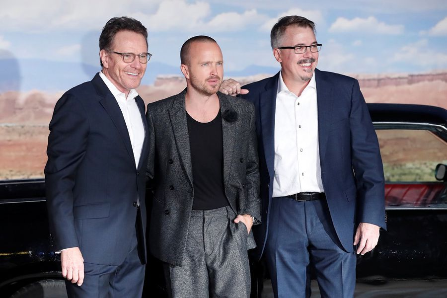 """Cast member Paul, director Gilligan and actor Cranston pose at the premiere for """"El Camino: A Breaking Bad Movie"""" in Los Angeles"""