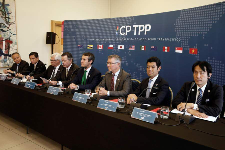 Representatives of the countries members of TPP trade deal, take part in a news conference at the Ministry of Foreign Affairs in Santiago
