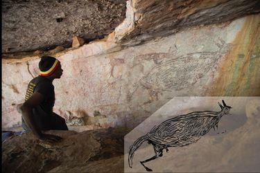 La pintura rupestre más antigua en Australia es la de un canguro y tiene más de 17.100 años
