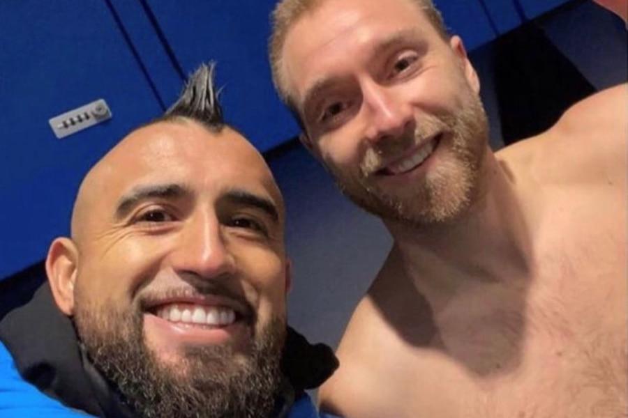 Arturo Vidal y Christian Eriksen, en el Inter