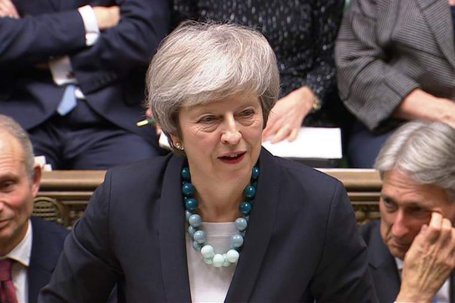 Britain's Prime Minister Theresa May makes a statement in the House of Commons, London