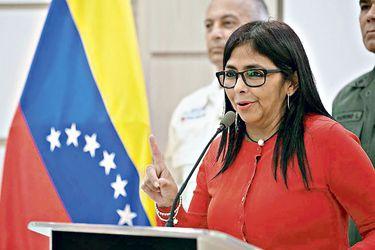 La vicepresidenta de Venezuela, Delcy Rodríguez, tras una reunión del Consejo de Vicepresidentes en agosto