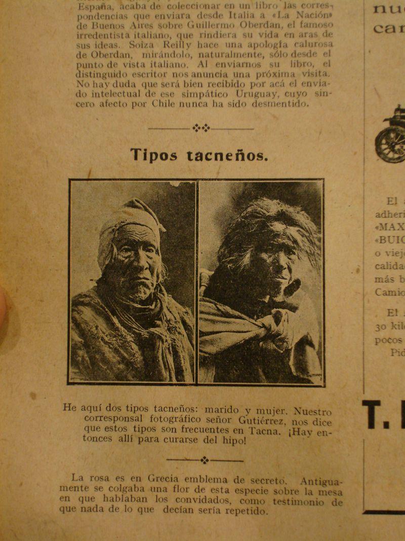 """""""Tipos tacneños"""". Revista Sucesos N°775, 02 de Agosto de 1917."""