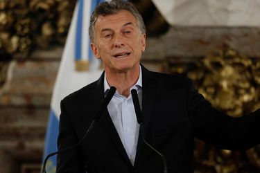 Argentine president Mauricio Macri speaks during a press conference a