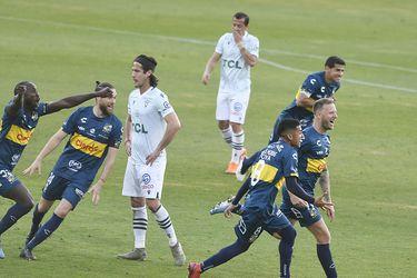 Cristian Menéndez celebra el 1-0 definitivo de Everton ante Santiago Wanderers. FOTO: Agencia Uno.