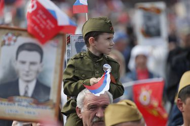 People take part in the Immortal Regiment march during celebrations of the Victory Day in Moscow