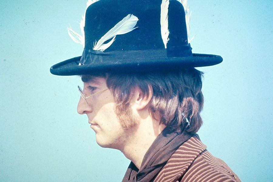 John Lennon in feathered hat