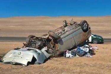 Volcamiento en ruta Antofagasta-Taltal dejó un lactante fallecido y tres heridos