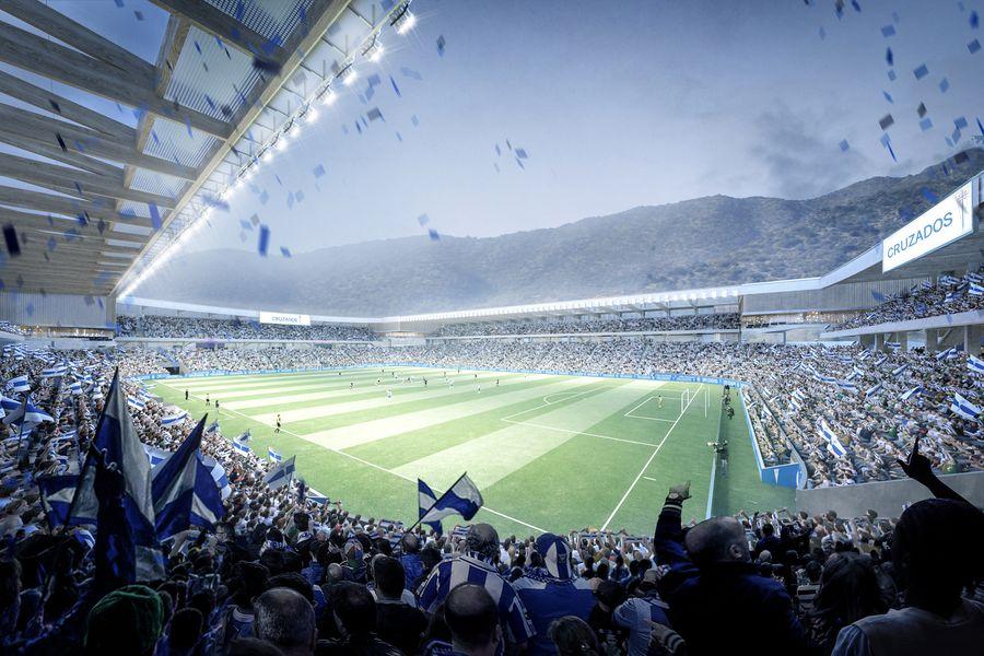 Vista interior virtual del futuro estadio San Carlos de Apoquindo, la Nueva Fortaleza Cruzada de Universidad Católica.