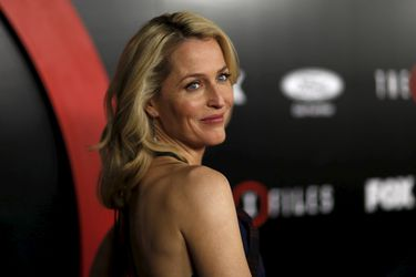 "Cast member Gillian Anderson poses at a premiere for ""The X-Files"" at California Science Center in Los Angeles, California"