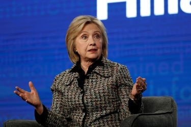 "FILE PHOTO: Former U.S. Secretary of State Clinton speaks at a panel for the Hulu documentary ""Hillary"" during the Winter TCA (Television Critics Association) Press Tour in Pasadena"