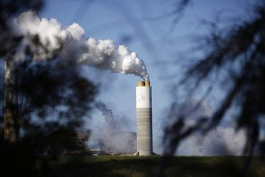 Emissions rise from the coal fired power plant