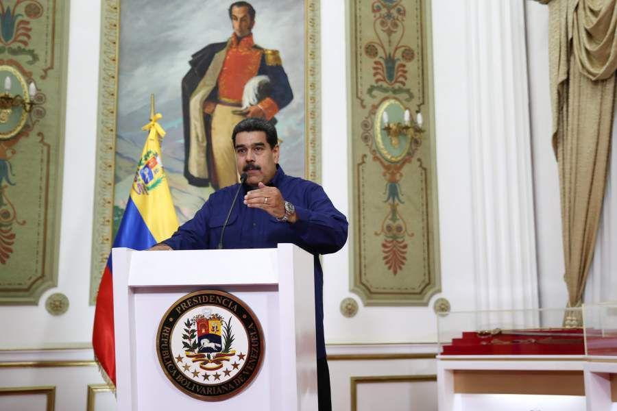 Venezuela's President Nicolas Maduro speaks during a broadcast at Miraflores Palace in Caracas