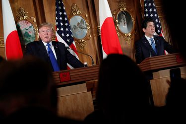 Trump meets with Abe at Akasaka Palace in Japan